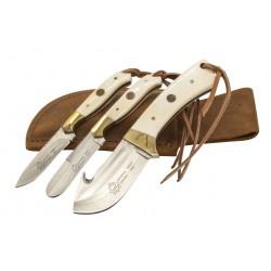 Puma SGB TrophyCare 3 Piece White Bone Knife Set with Leather Sheath